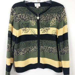 CHRISTOPHER & BANKS • Fall Leaf Zip Cardigan XL